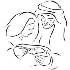 Baby Jezus, Maria en Jozef