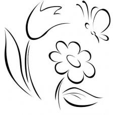 Bloemen met vlinder